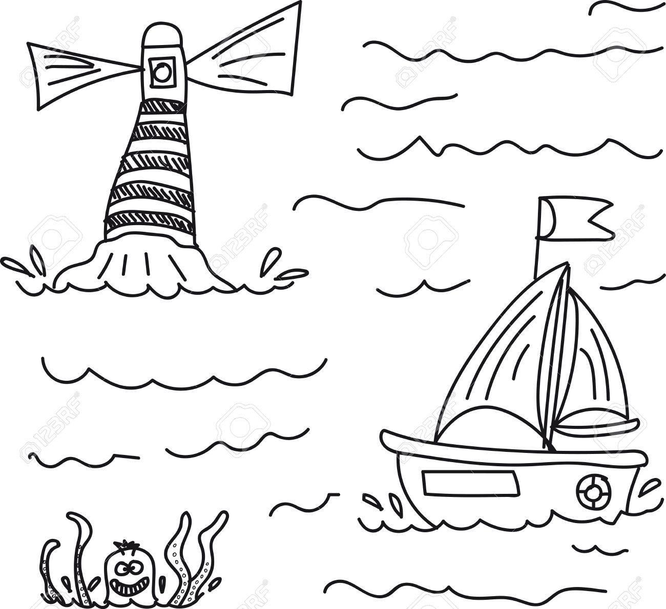 Vettoriale La Barca A Mare Oltre Il Faro In Acqua Si è Minacciato
