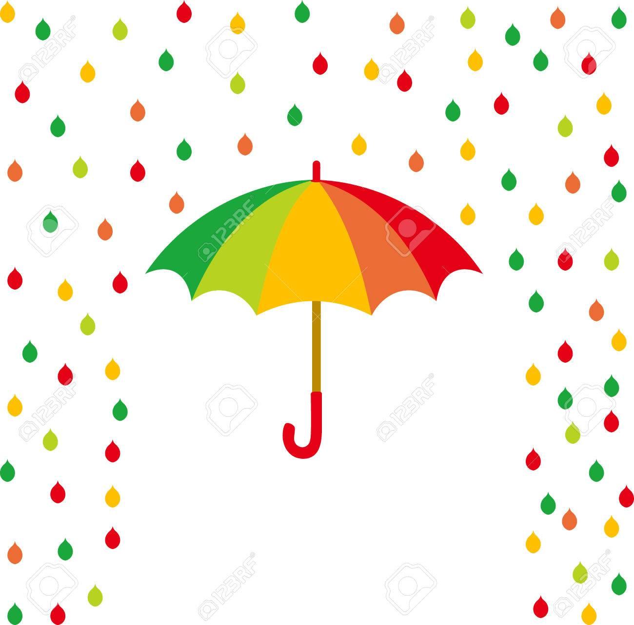 Paraguas Y Gotas De Lluvia De Color Ilustración Vectorial Ilustraciones Vectoriales Clip Art Vectorizado Libre De Derechos Image 58140113