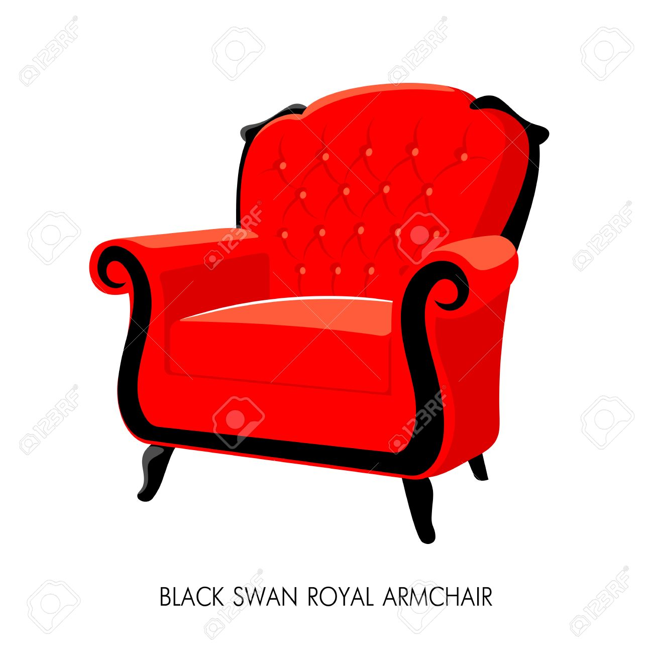 Black Swan Royal Armchair. French Baroque Furniture. Rococo Armchair Vector  Illustration Isolated On White