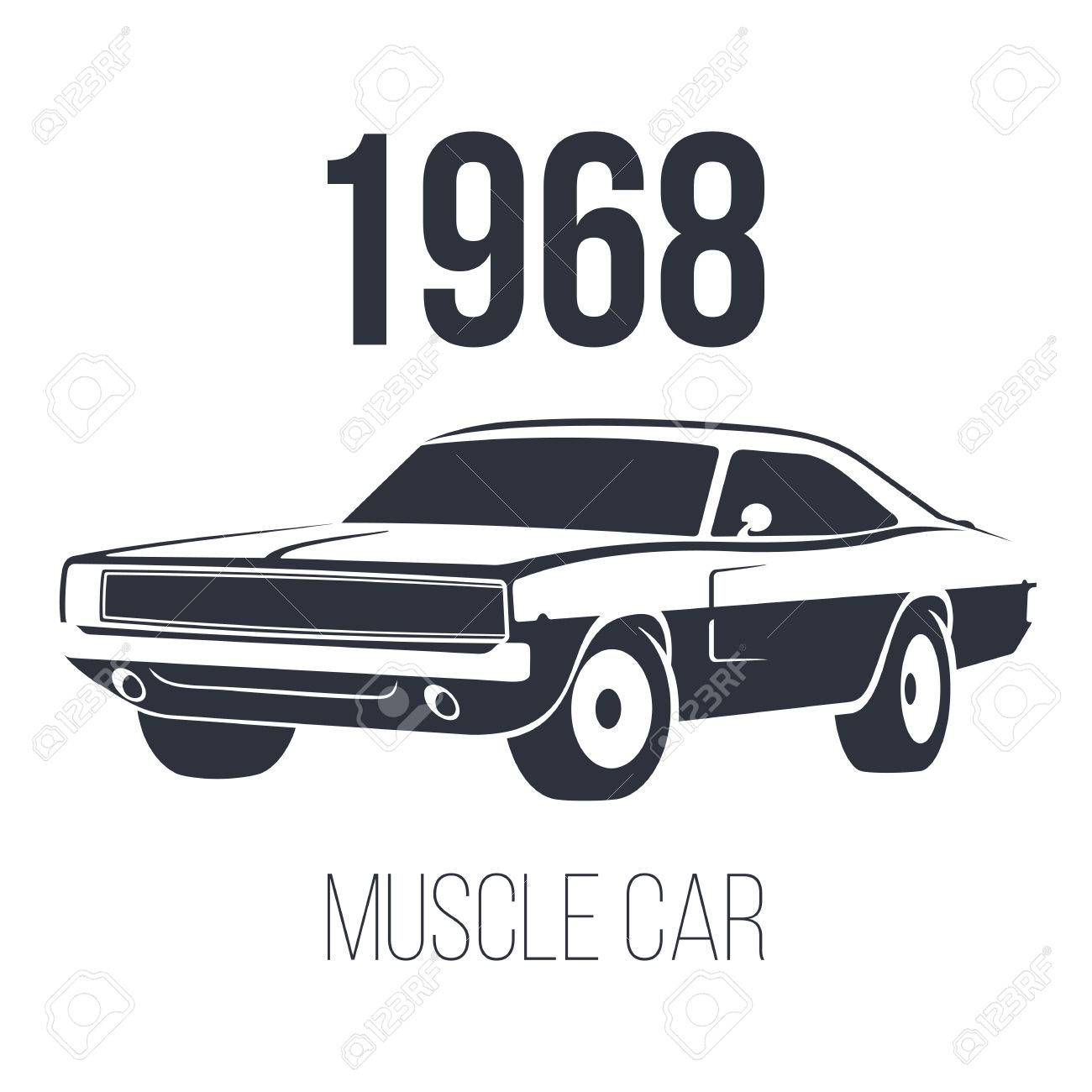 American Muscle Car 1968 Black Vector Illustration Isolated On