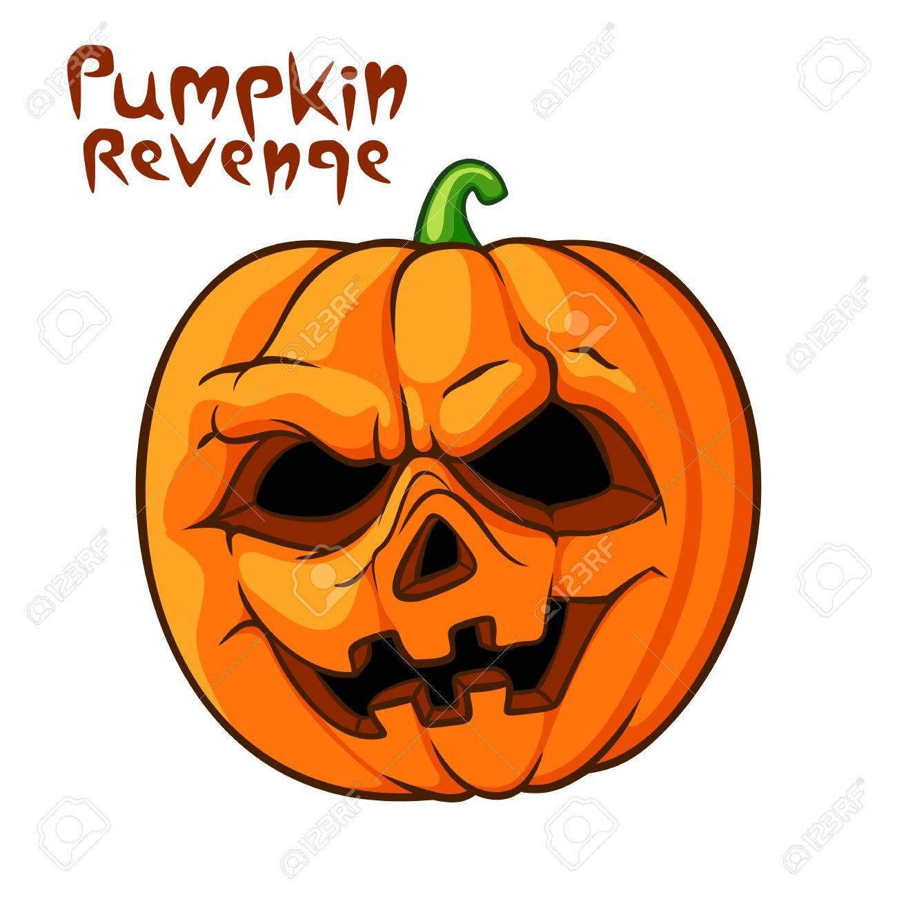 Halloween Pumpkin Vector.Halloween Scary Pumpkin Vector Illustration Pumpkin Revenge