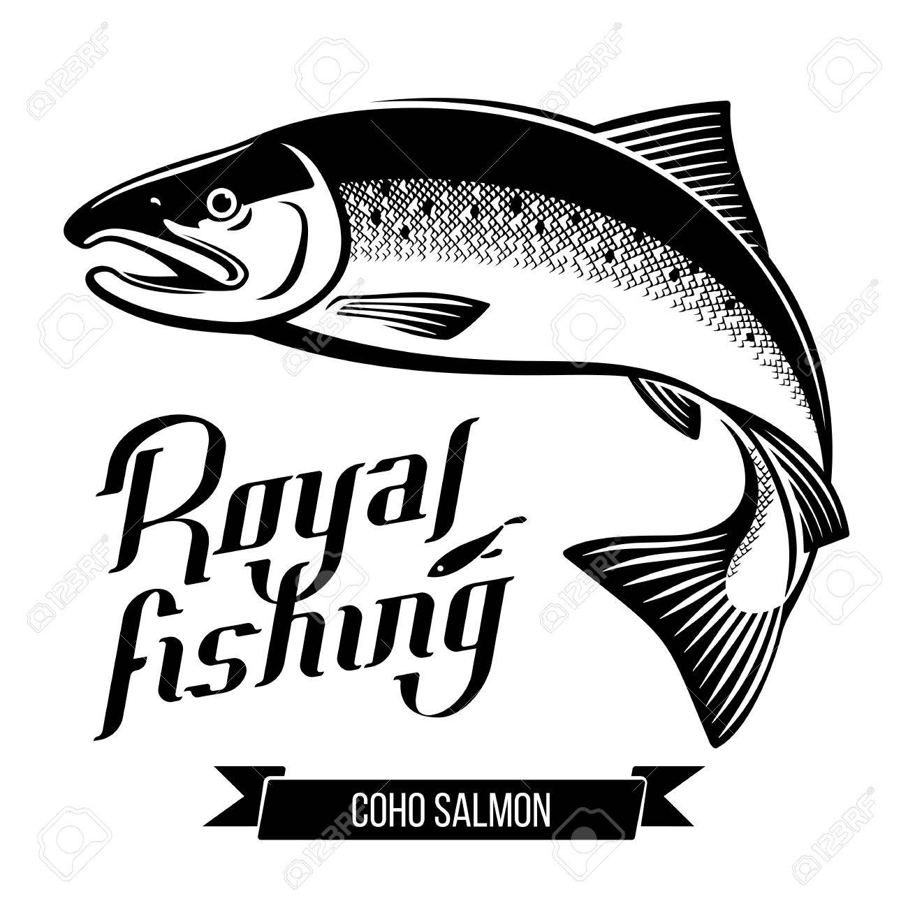coho salmon fish vector illustration royalty free cliparts vectors rh 123rf com fish vector free fish vector graphic