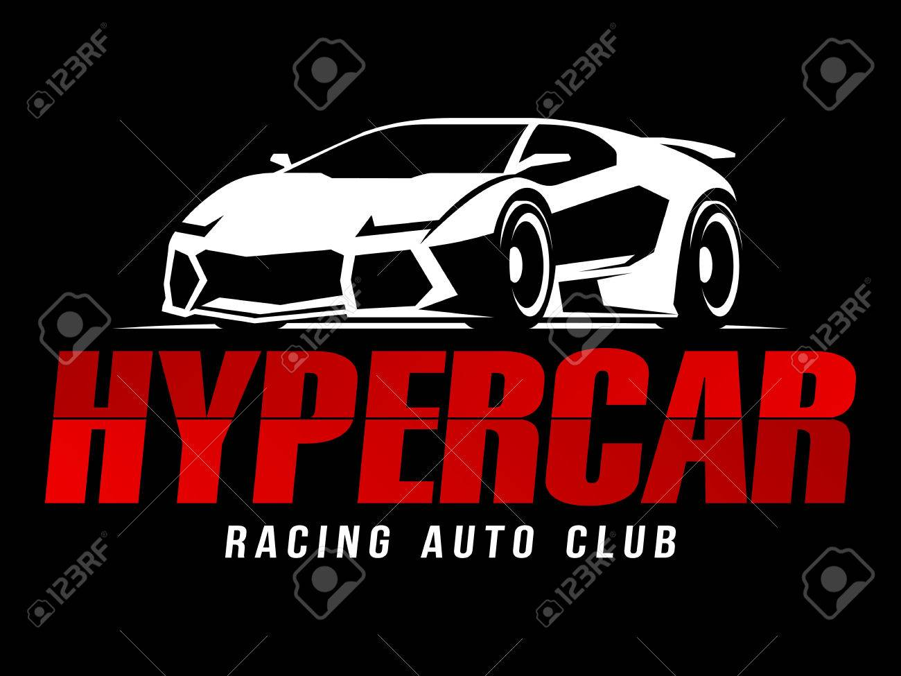 Racing Auto Club Hypercar Logo Royalty Free Klipartlar Vektor