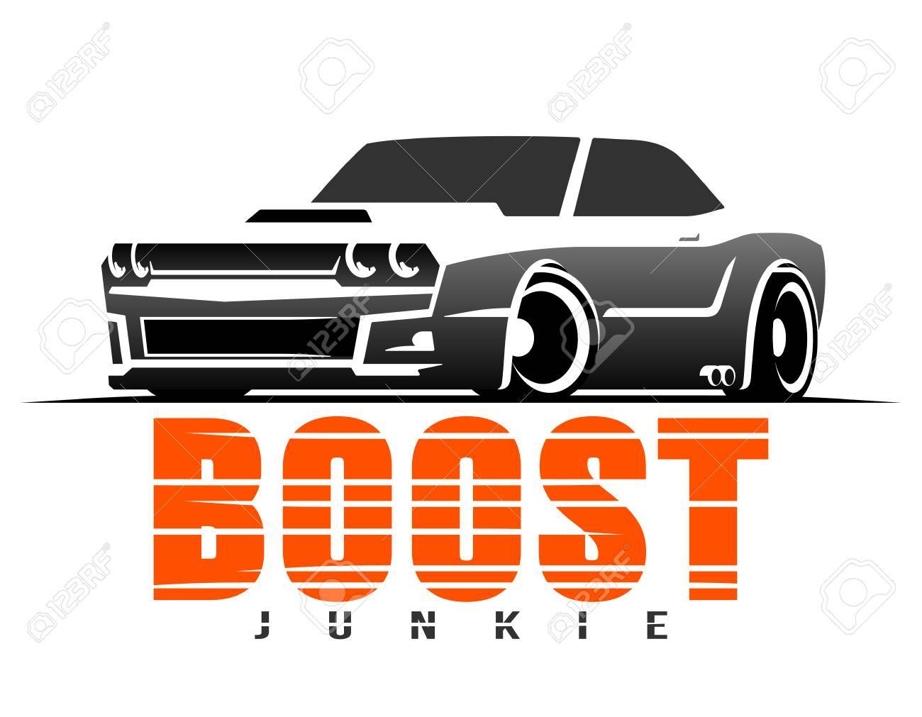 boost muscle car t-shirt graphics royalty free cliparts, vectors