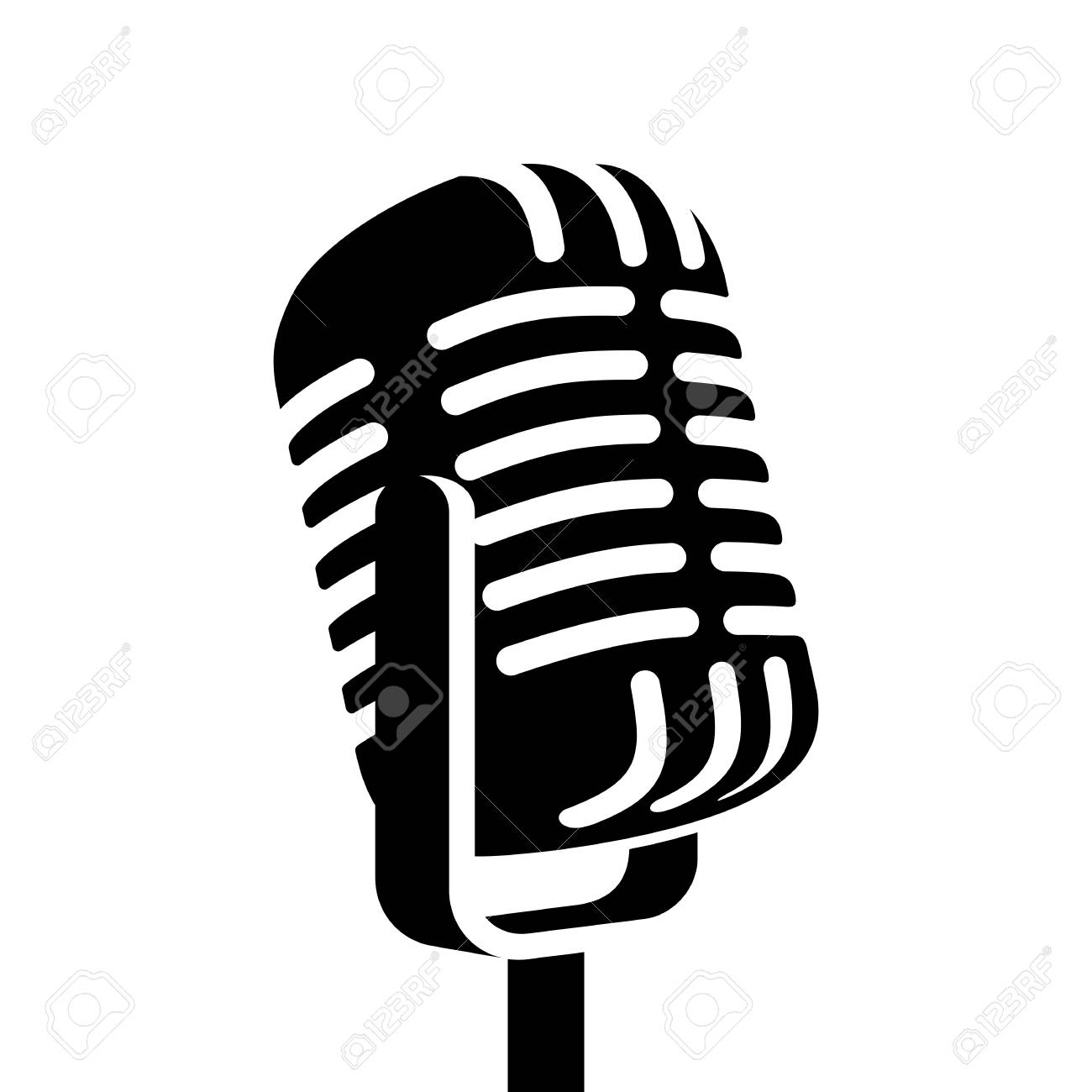 9b34840f8 Vintage Microphone Sign Vector Illustration Royalty Free Cliparts ...