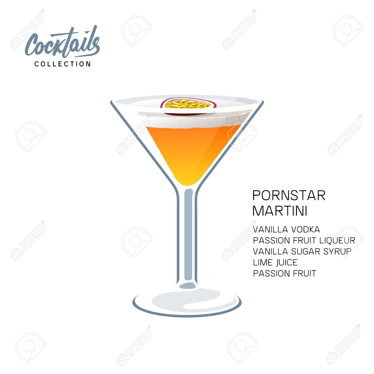 Pornstar Martini Cocktail Recipe Passion Fruit Vector Illustration Royalty Free Cliparts Vectors And Stock Illustration Image 152750729