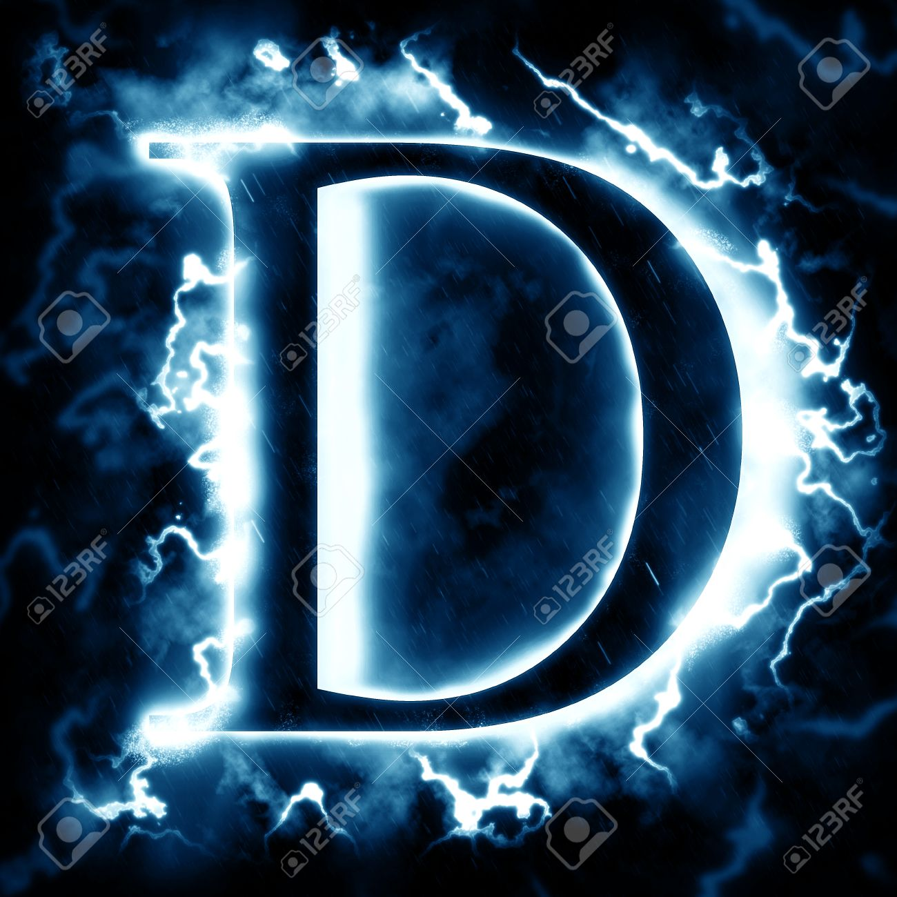 Lightning Letter D Stock Photo, Picture And Royalty Free Image