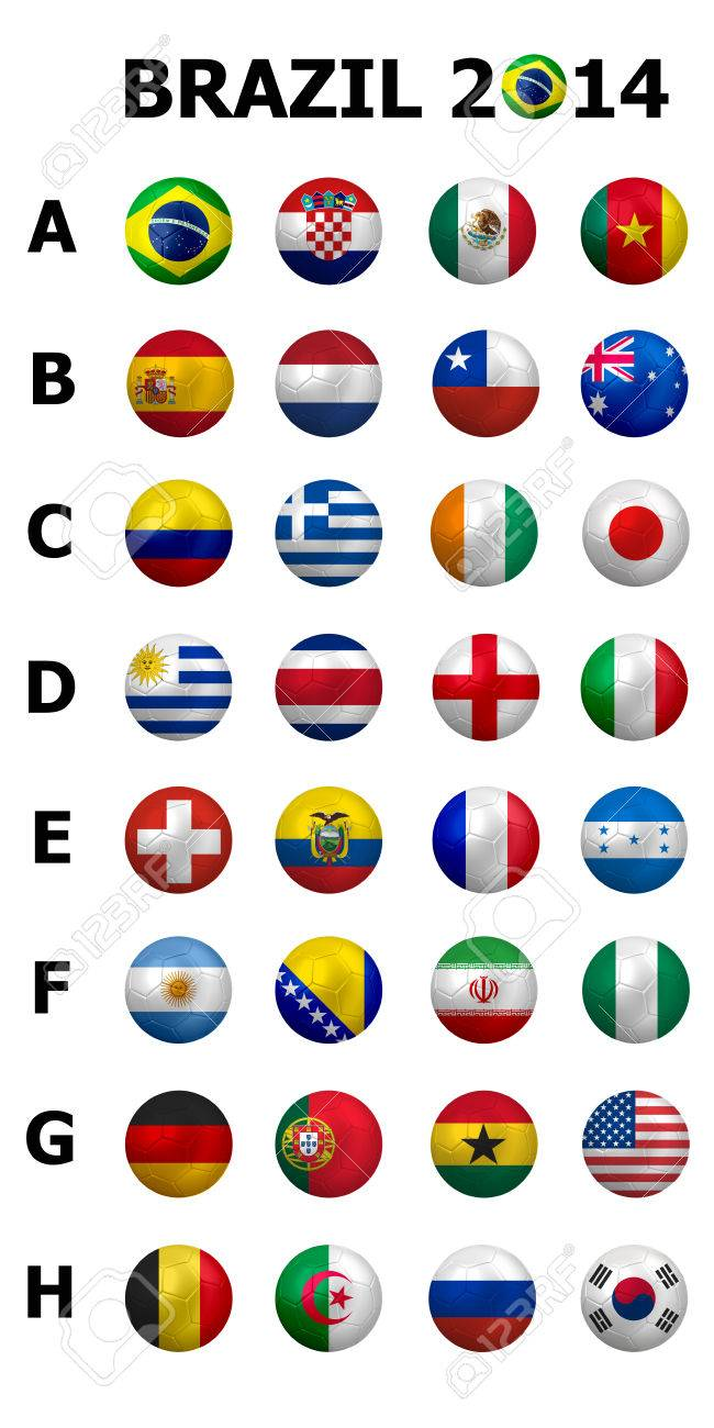 Football Soccer Championship 2014  Brazil Groups A to H  32 nation flags  3d soccer ball design  Banque d'images - 29741591