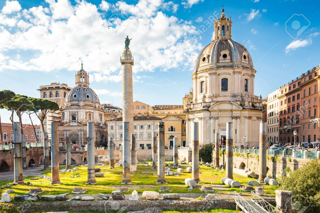 The Trajan's Forum in Roma, Italy. Banque d'images - 70539735