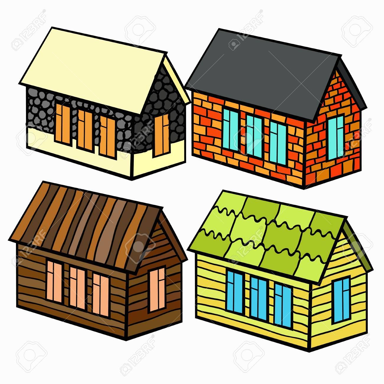 Conjunto De Casas De Madera Y Ladrillo Y Piedra Para La Ilustracion