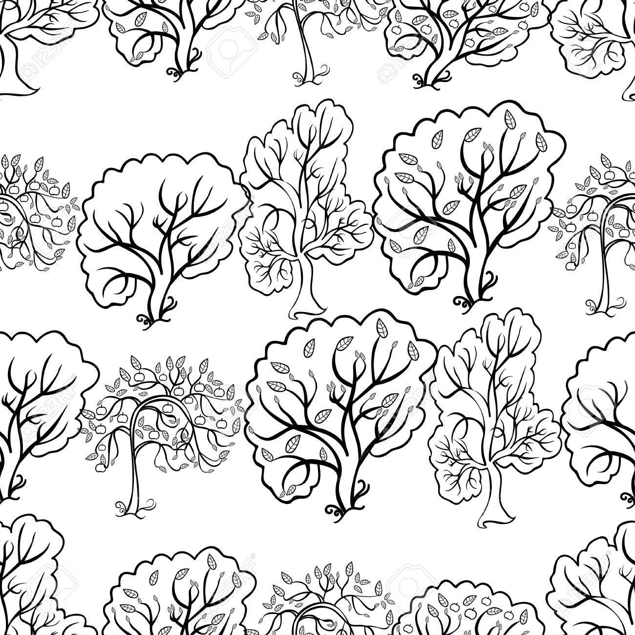 Colorear árbol Patrón De Fondo Sin Fisuras De Manzana. Ilustración ...