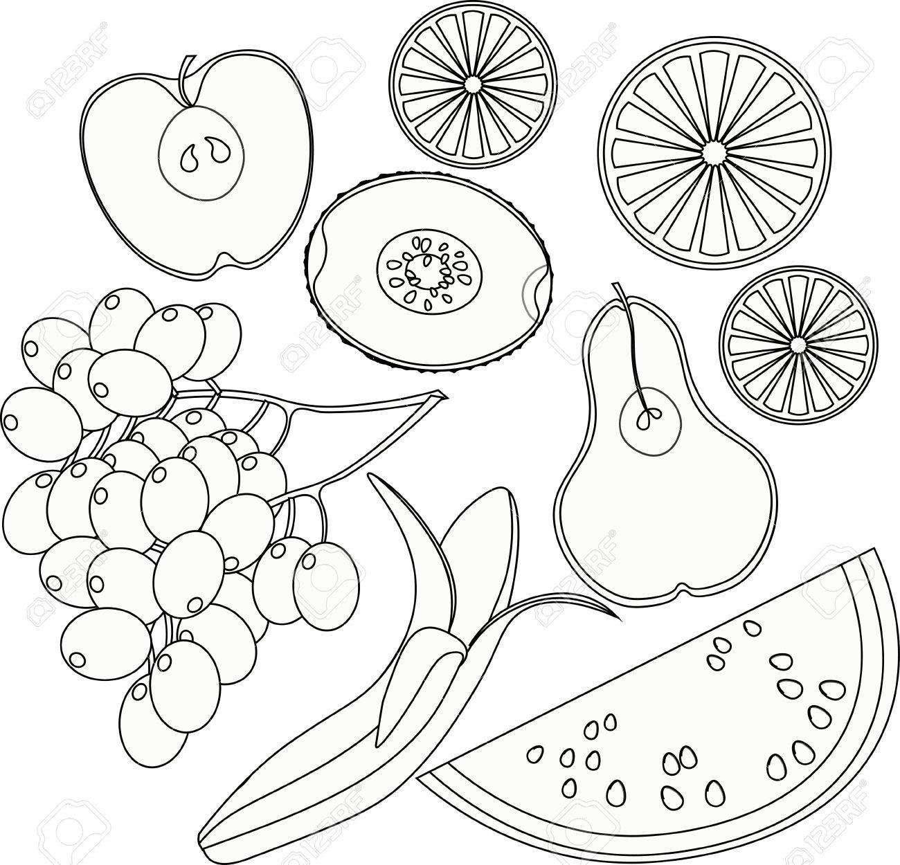 Establecer La Sandía Para Colorear De Frutas Naranja Kiwi Uva Plátano Pera Manzana Ilustración Vectorial