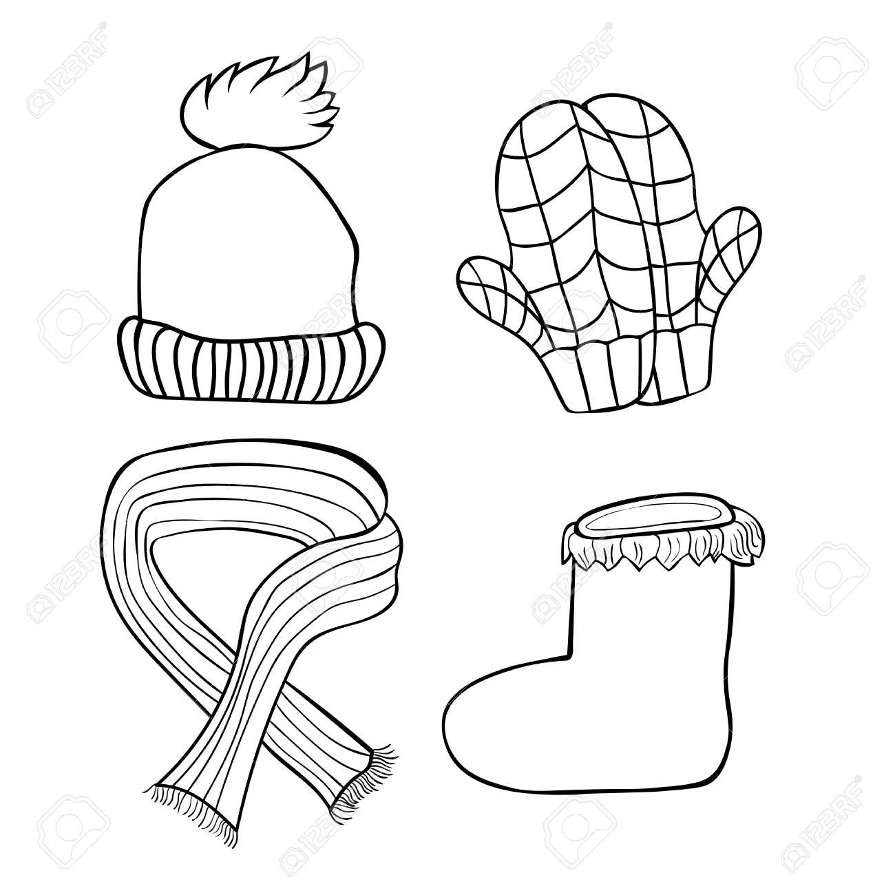 Conjunto De Sombreros Para Colorear Guantes Botas Bufanda De Invierno Ilustración Vectorial