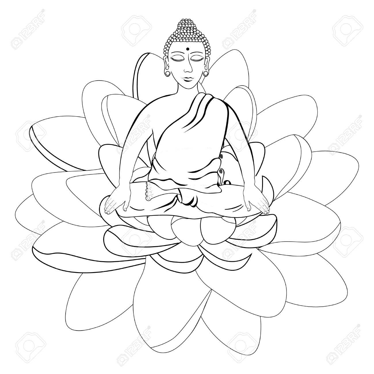 Buda Sentado En La Flor De Loto Meditación India Ojos Cerrados Para Colorear Ilustración Vectorial