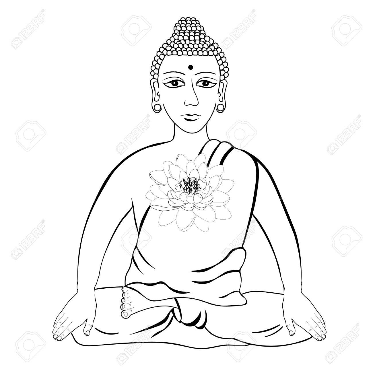 Buda Sentado Con Flor De Loto Indio Meditación Ojos Abiertos Para Colorear Ilustración Vectorial