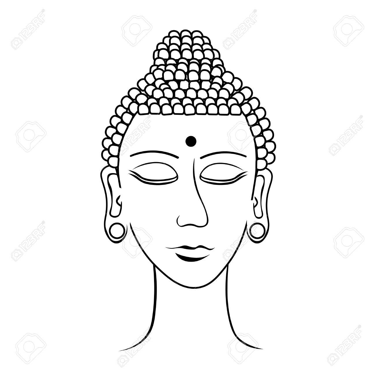 La Meditación India Principal De Buda Cerró Los Ojos Para Colorear La Ilustración Vectorial
