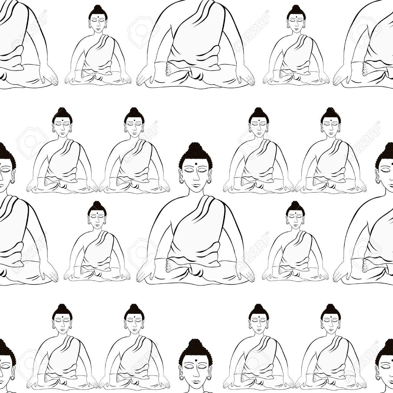 Patrones Sin Fisuras Buda Sentado En Loto Meditación India Ojos Cerrados Para Colorear Ilustración Vectorial