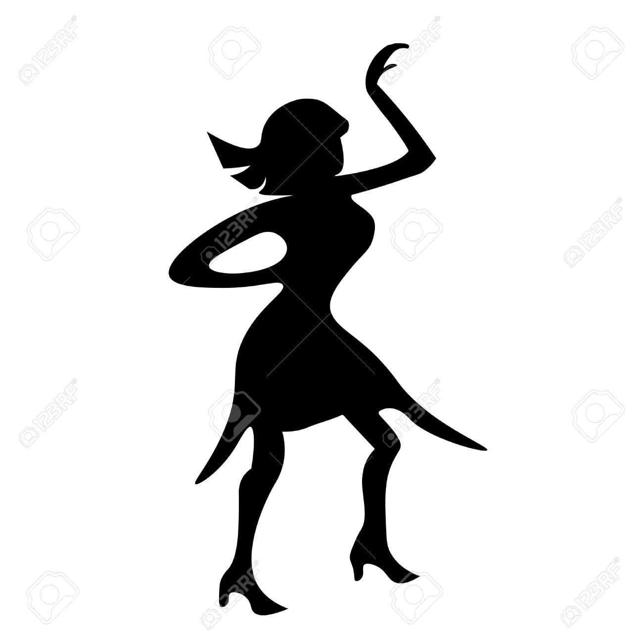 Disco De Chica Bailando Silueta Una Ilustración De Vector De Figura ...