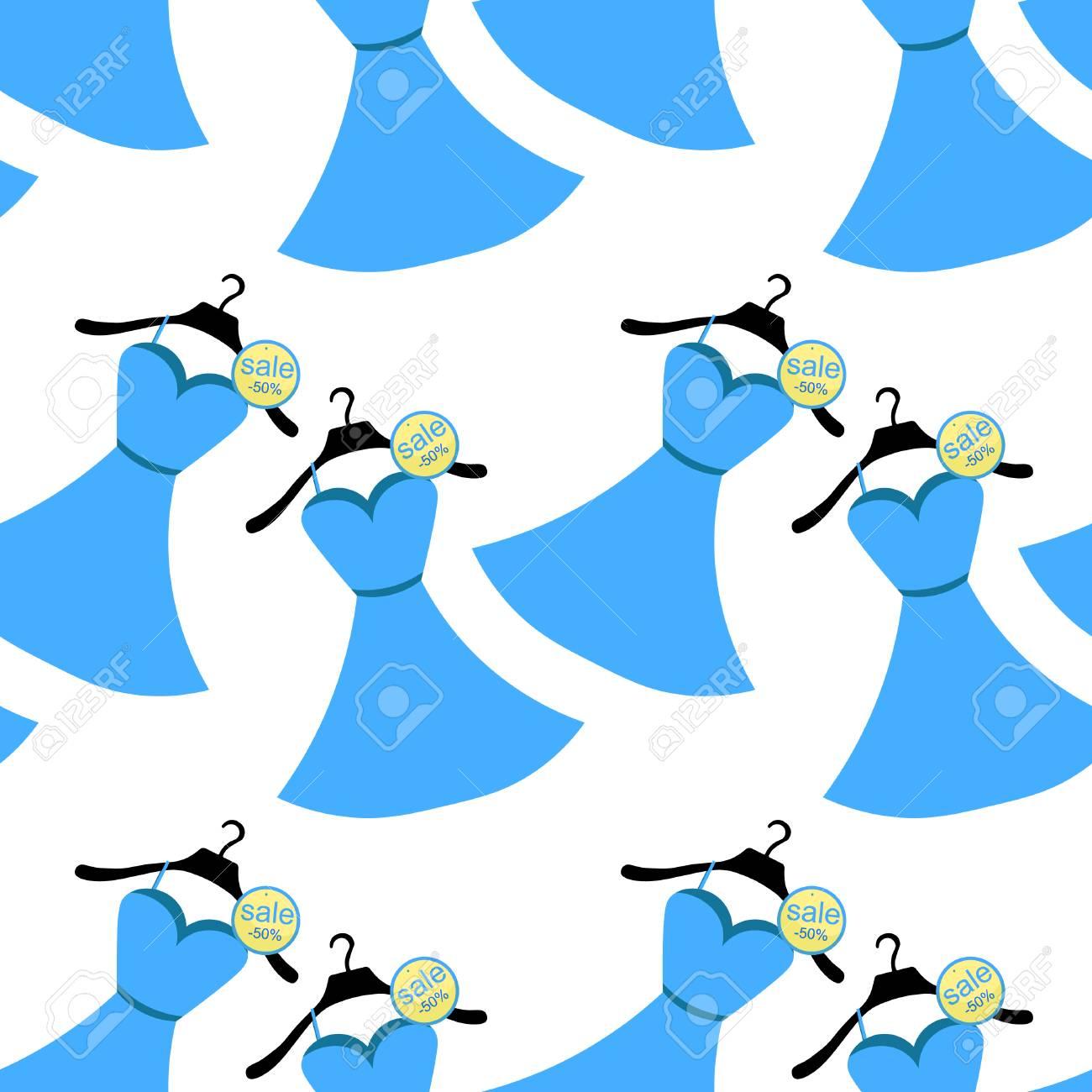 Patrón Sin Costuras En Vestido Azul Con Ilustración De Vector De ...