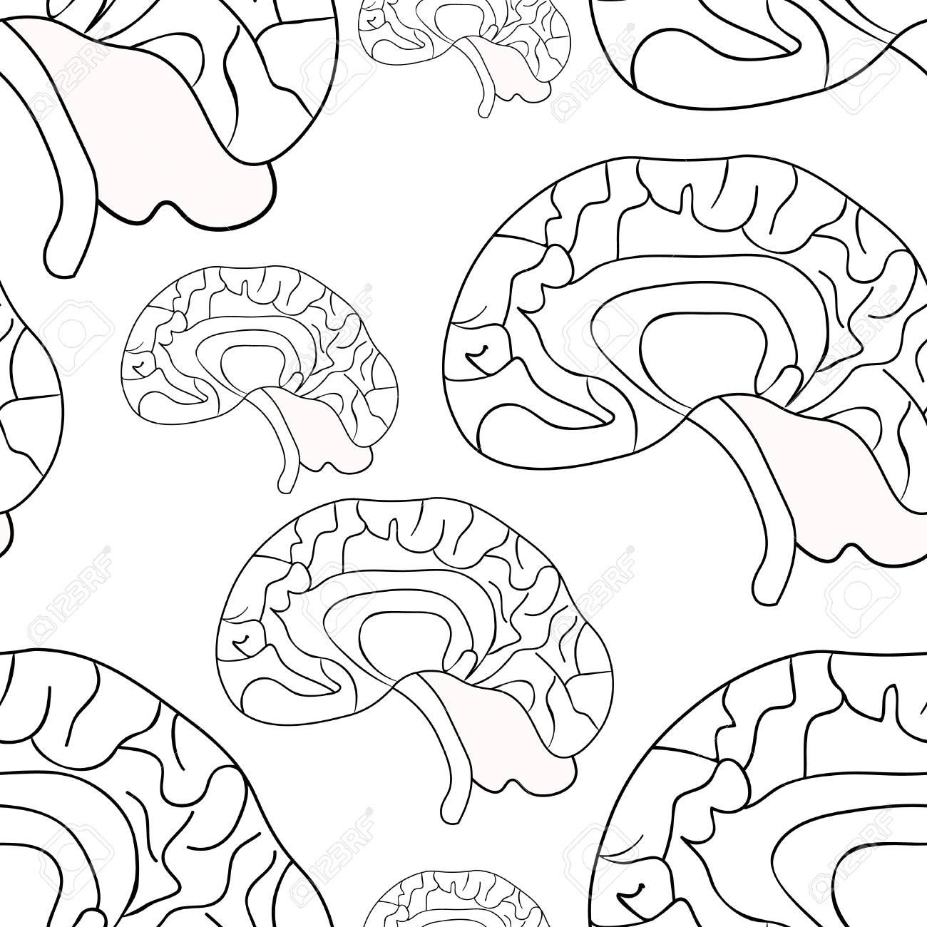 Patrón Sin Fisuras De Cerebro Humano En La Ilustración De Estilo Para Colorear