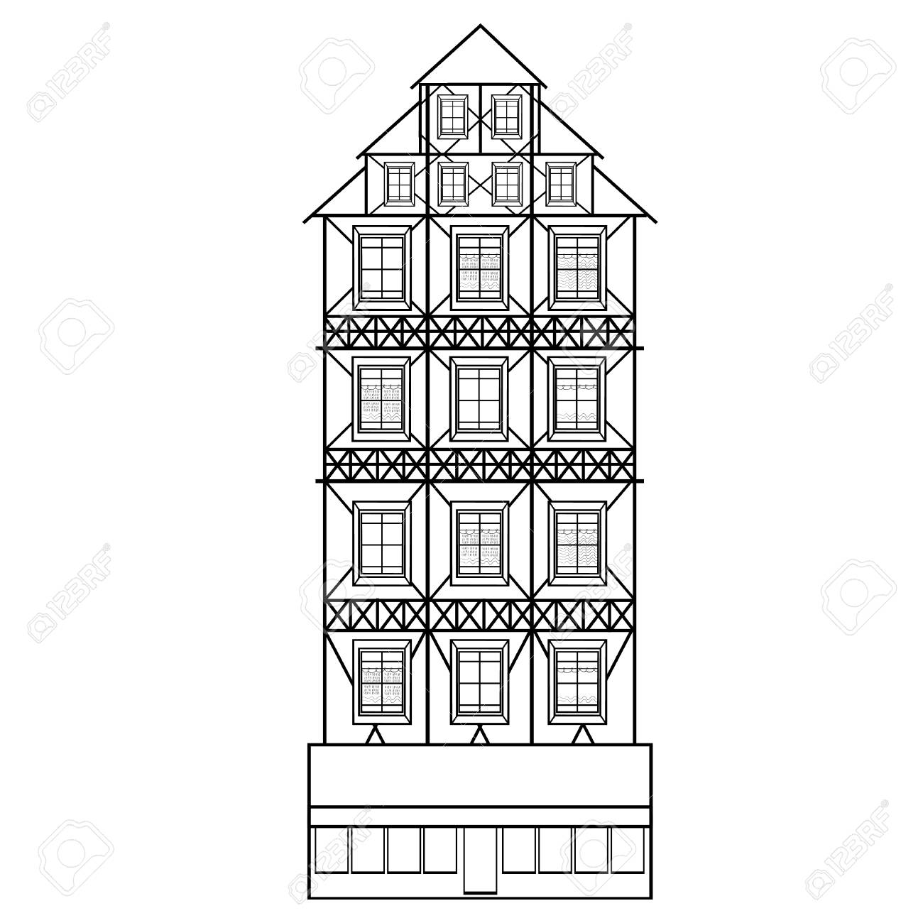 Casas Alemanas Para Colorear Son Ilustración Vectorial De Varios ...