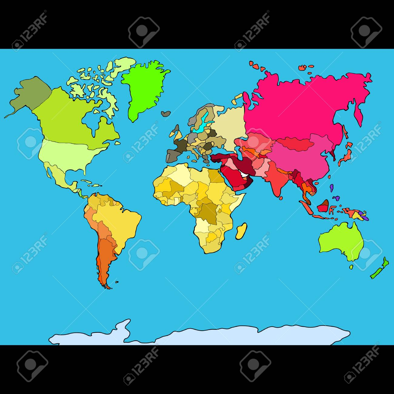 World map continents and countries vector illustration.