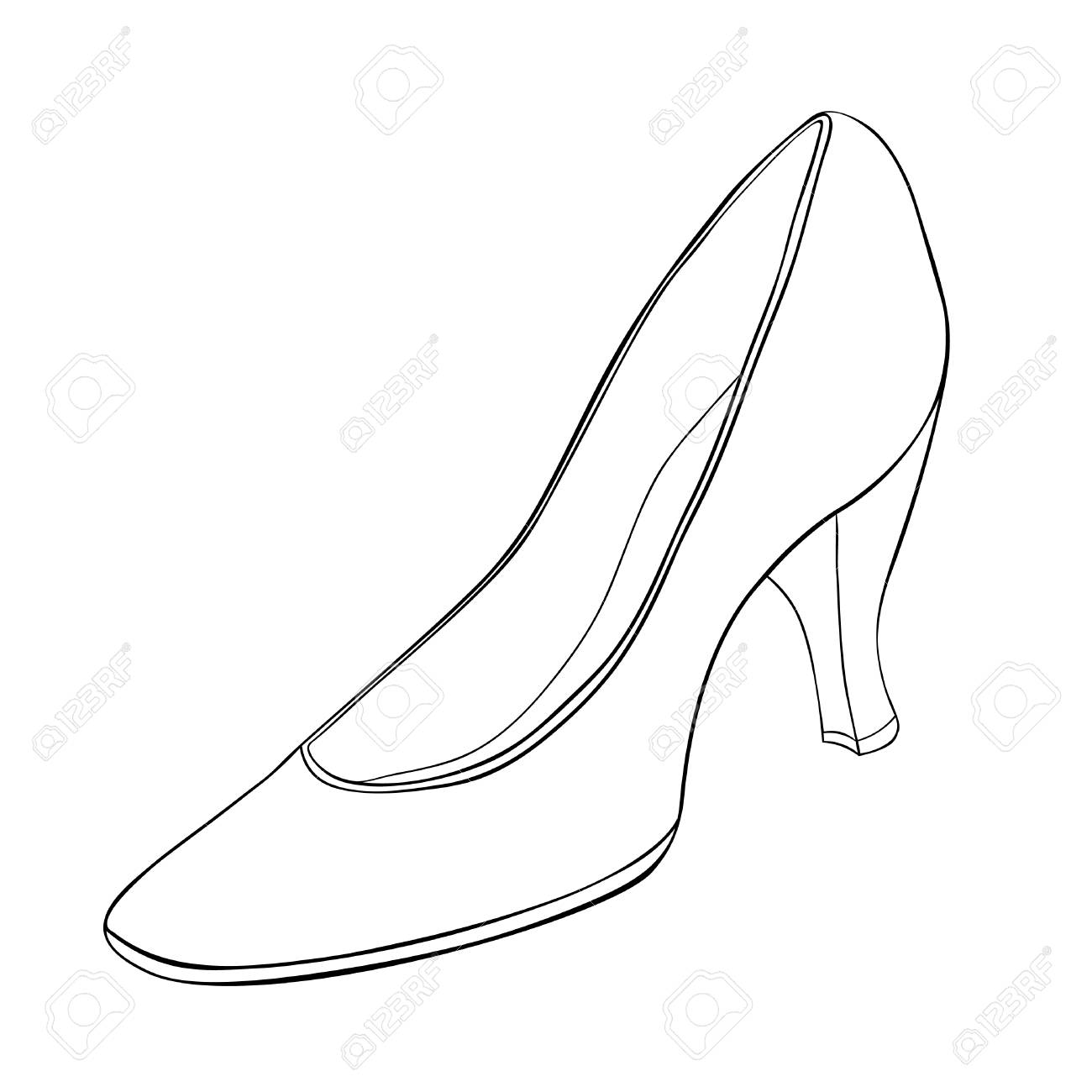 coloring shoes for girls, women on heels vector illustration
