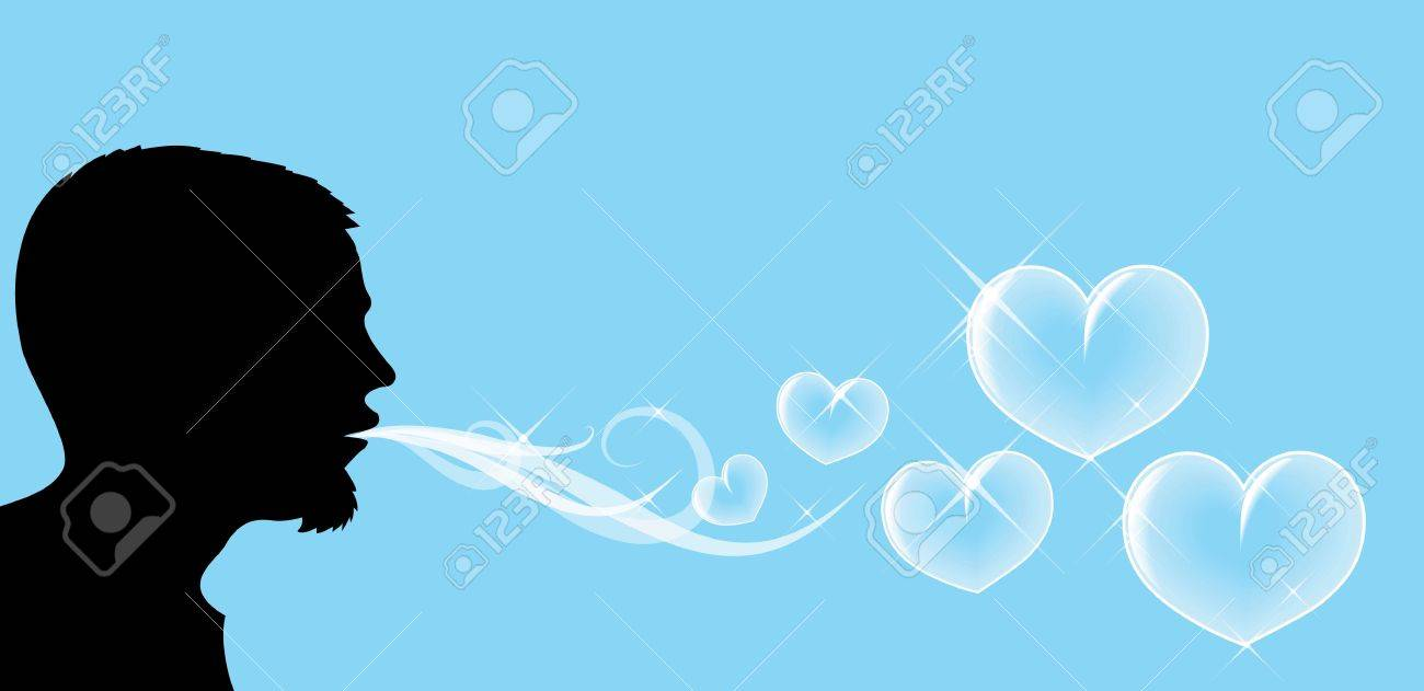 Silhouette of the man, who is blowing soap hearts Stock Photo - 2759452