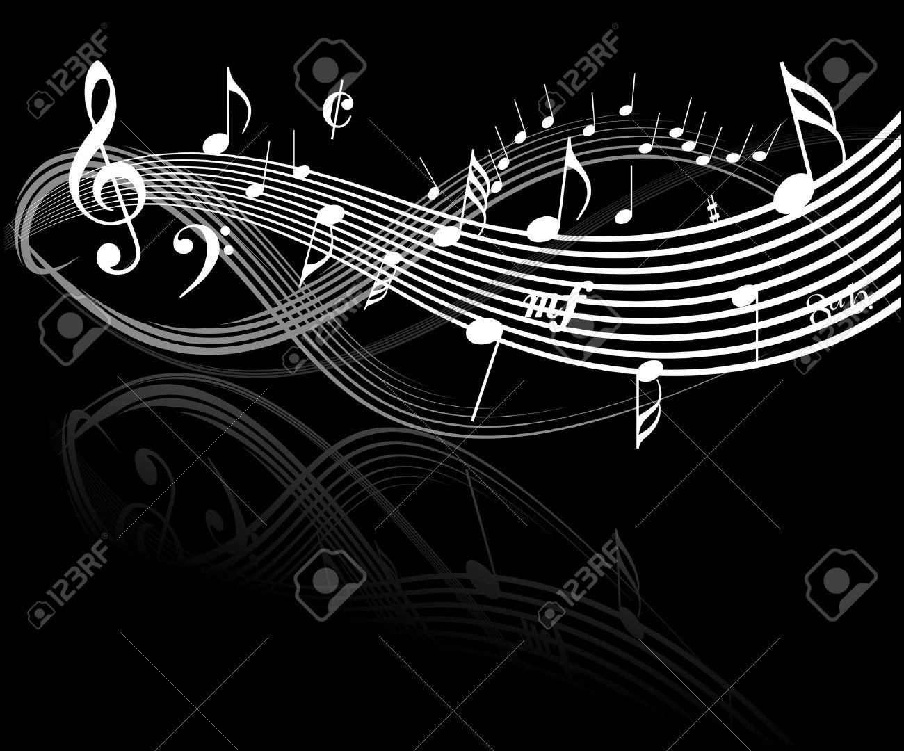 Black And White Music Notes Background Music theme - white notes on