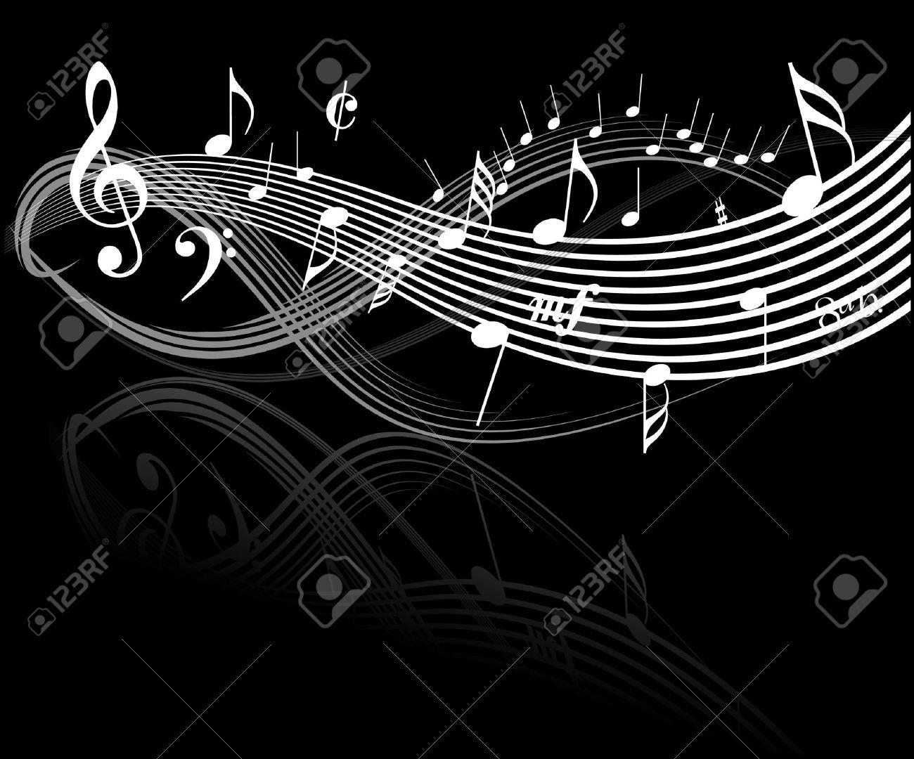 Music theme white notes on black background stock photo 3076063