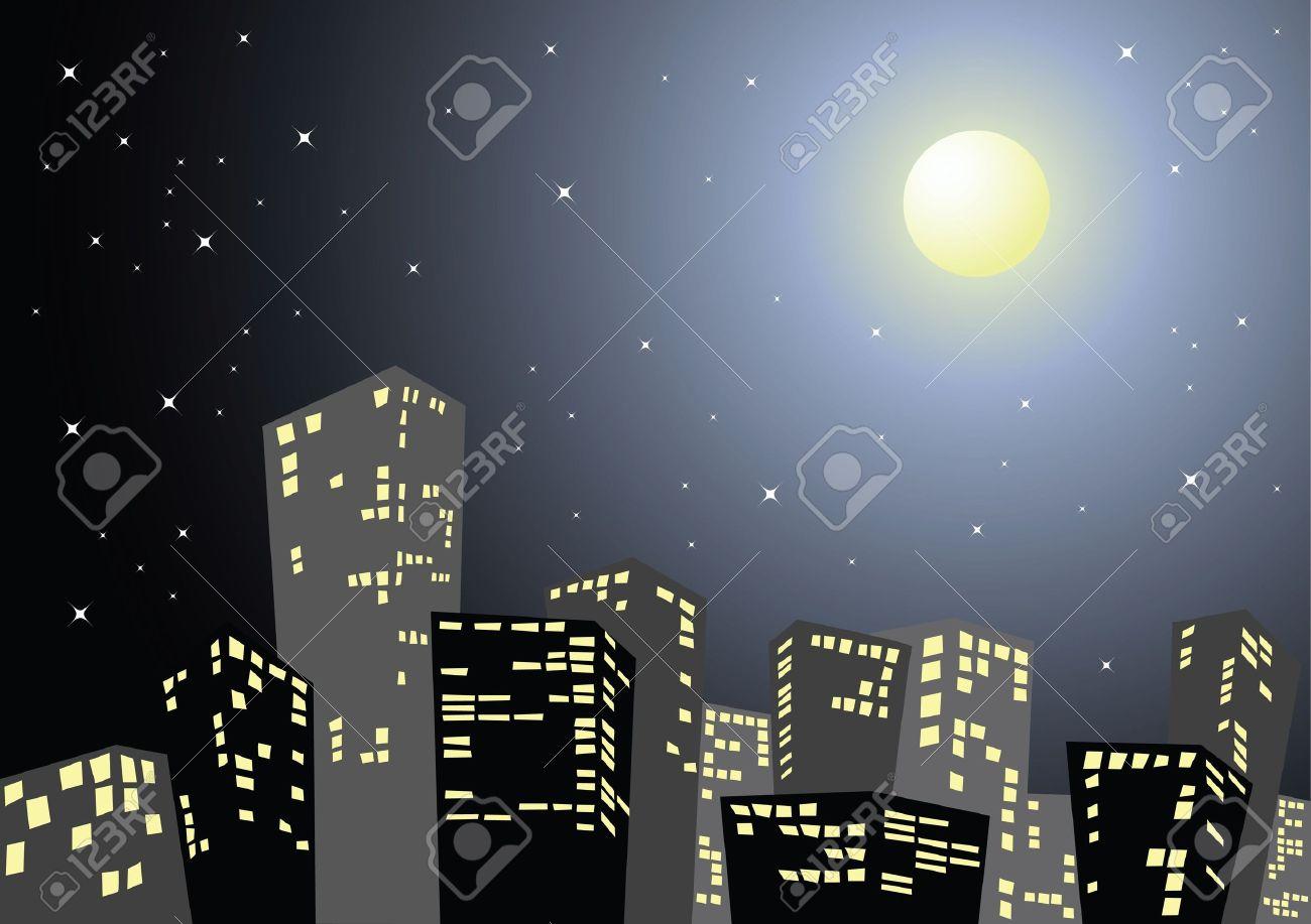 Cartoon City Skyline Night City in The Night Cartoon