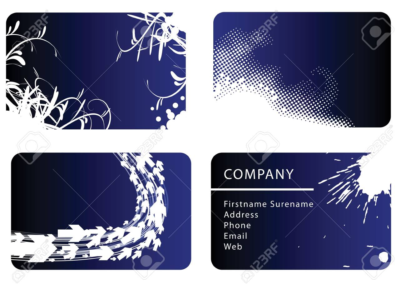 Set of blue business card templates Stock Photo - 3533410