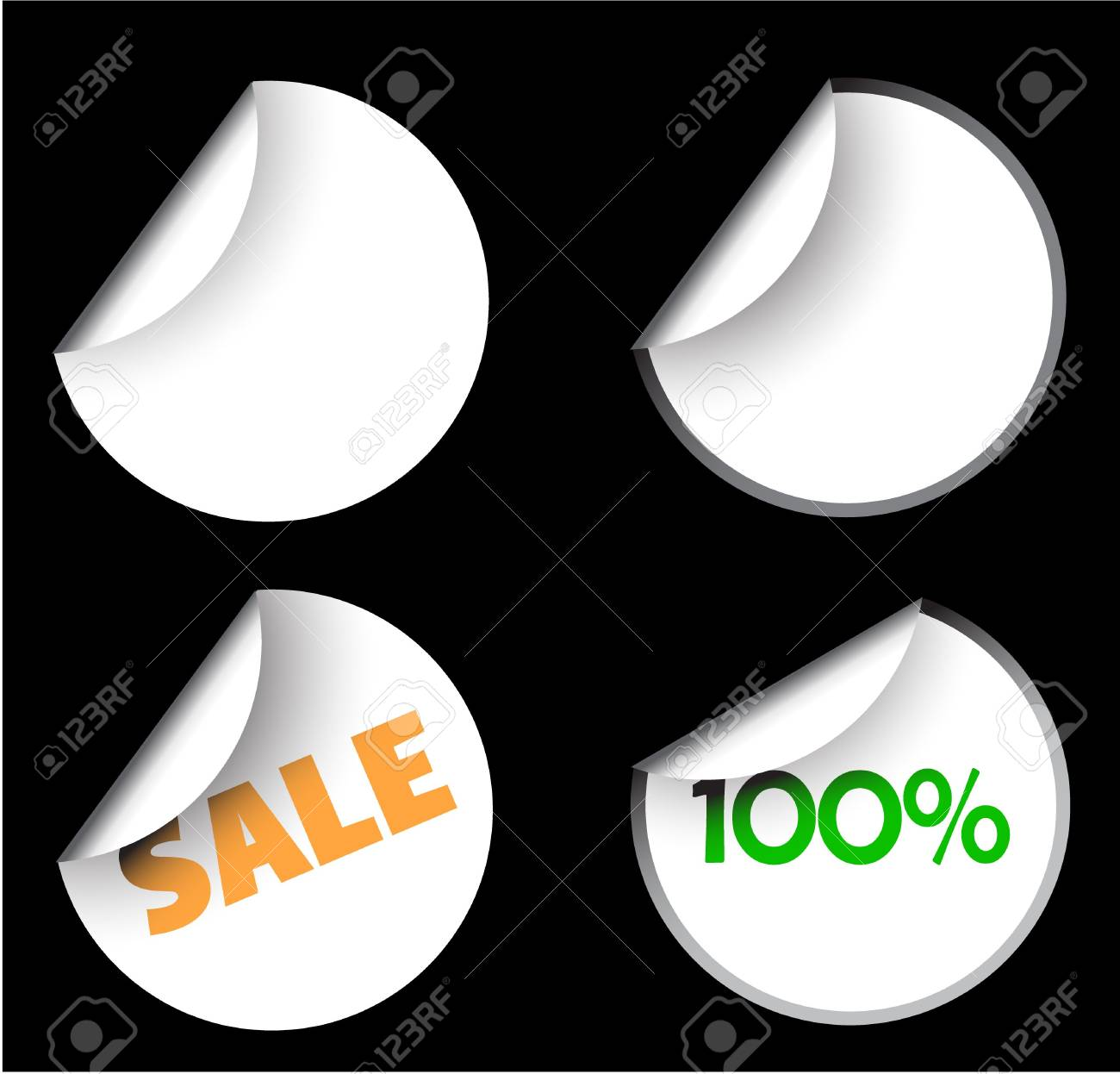 White labels badges and stickers on black background Stock Photo - 3581752