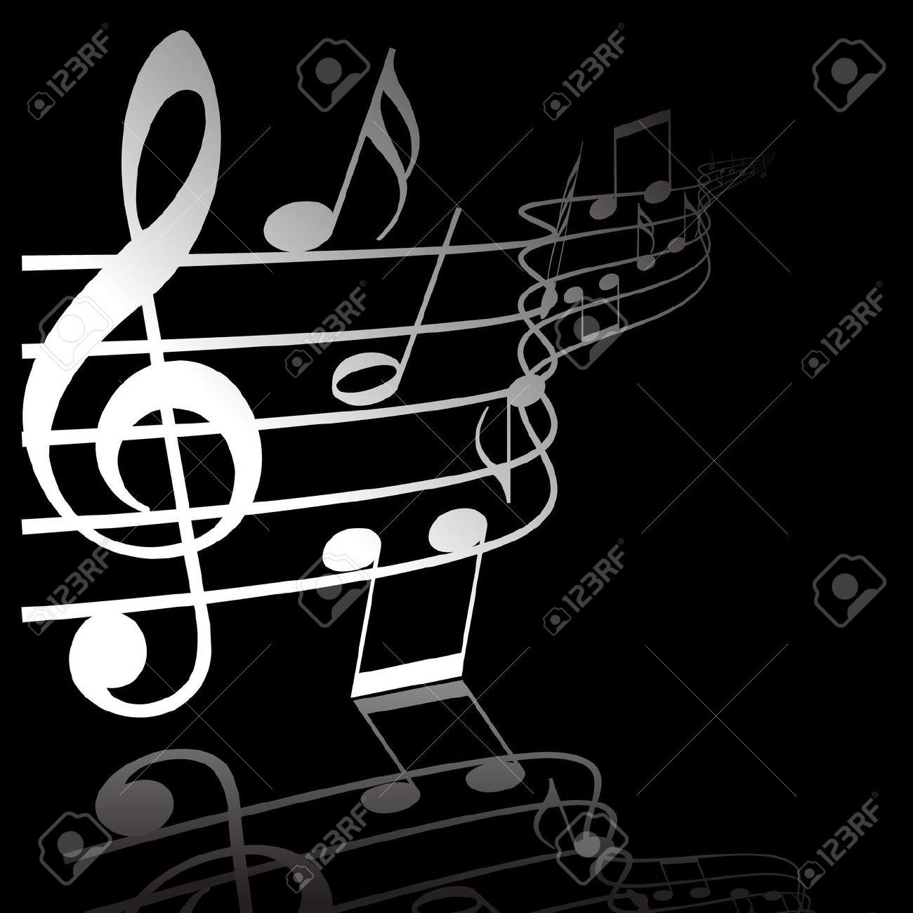 HÌNH NHẠC 3802407-Music-theme-white-notes-on-black-background-Stock-Photo