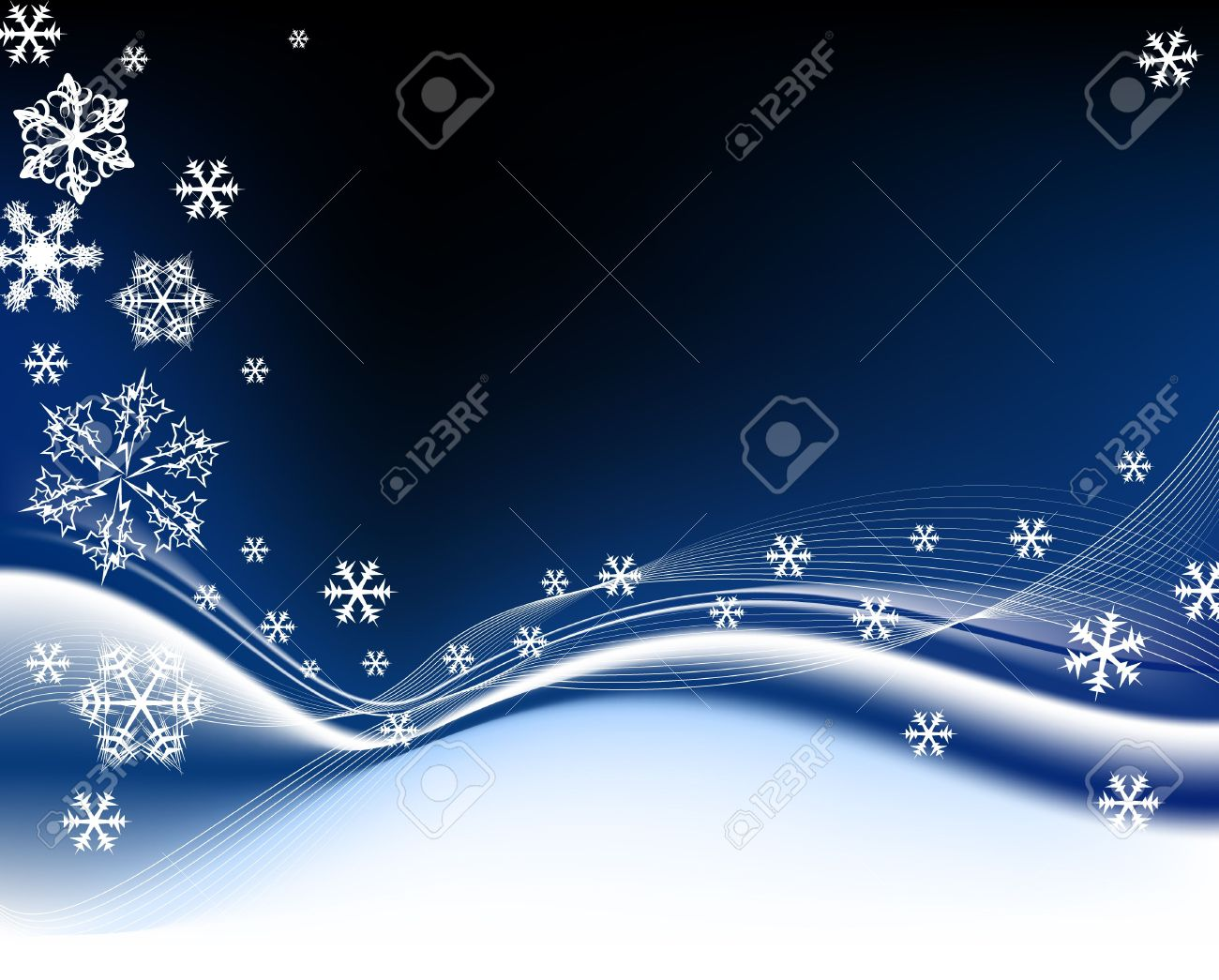 Dark Blue Christmas Background With White Snowflakes Stock Photo ...