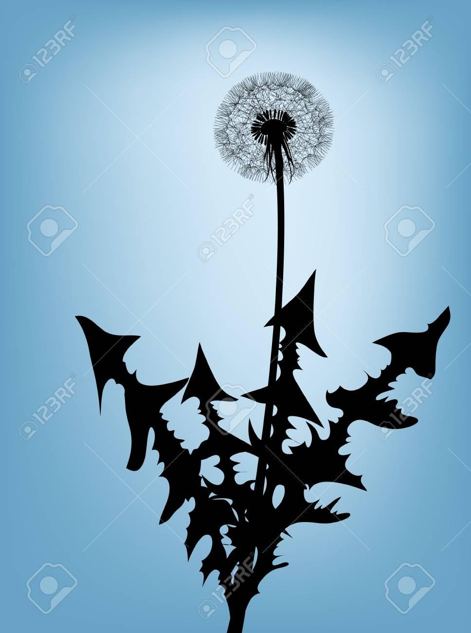 Dandelion silhouette against the blue sky Stock Photo - 4858060
