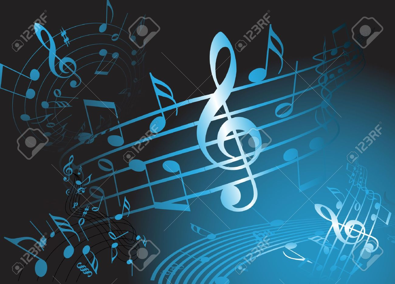 Blue music theme - abstract musical background