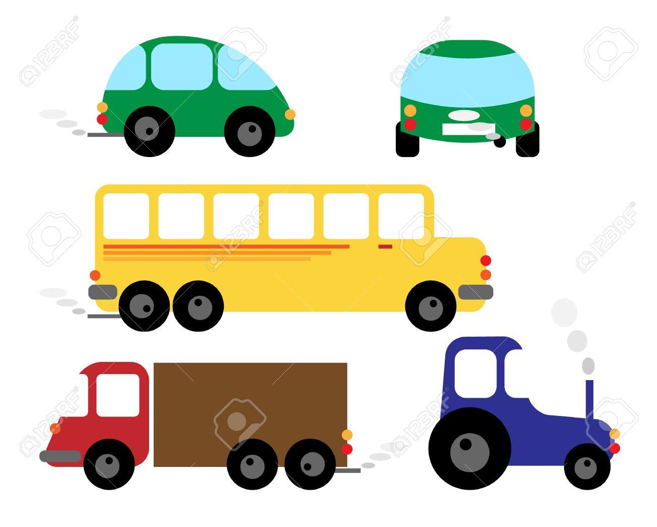 一連の車 - 車、バス、トラクター - 漫画イラスト/クリップアート