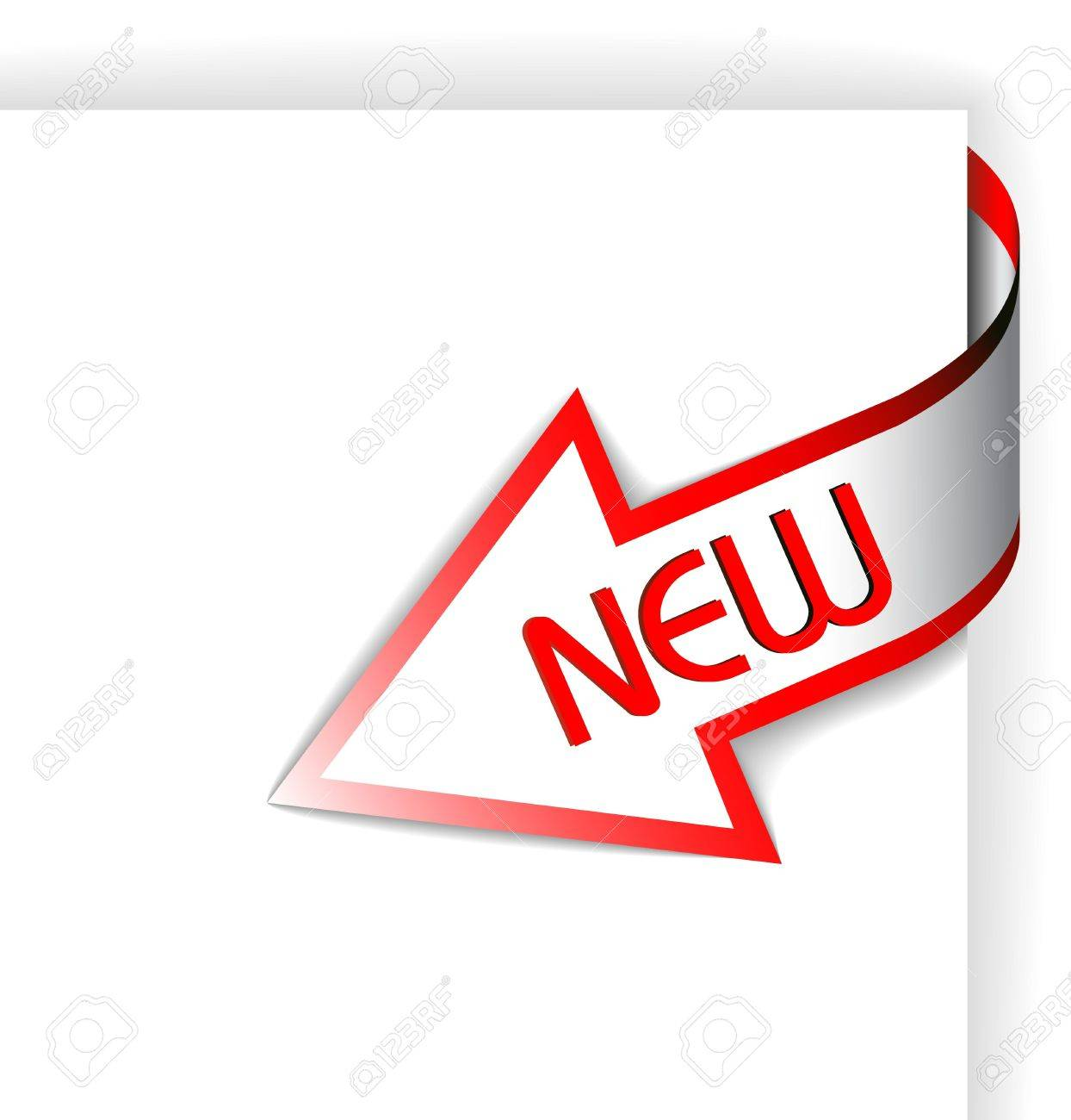 New red corner ribbon - arrow pointing at the content Stock Photo - 6484737
