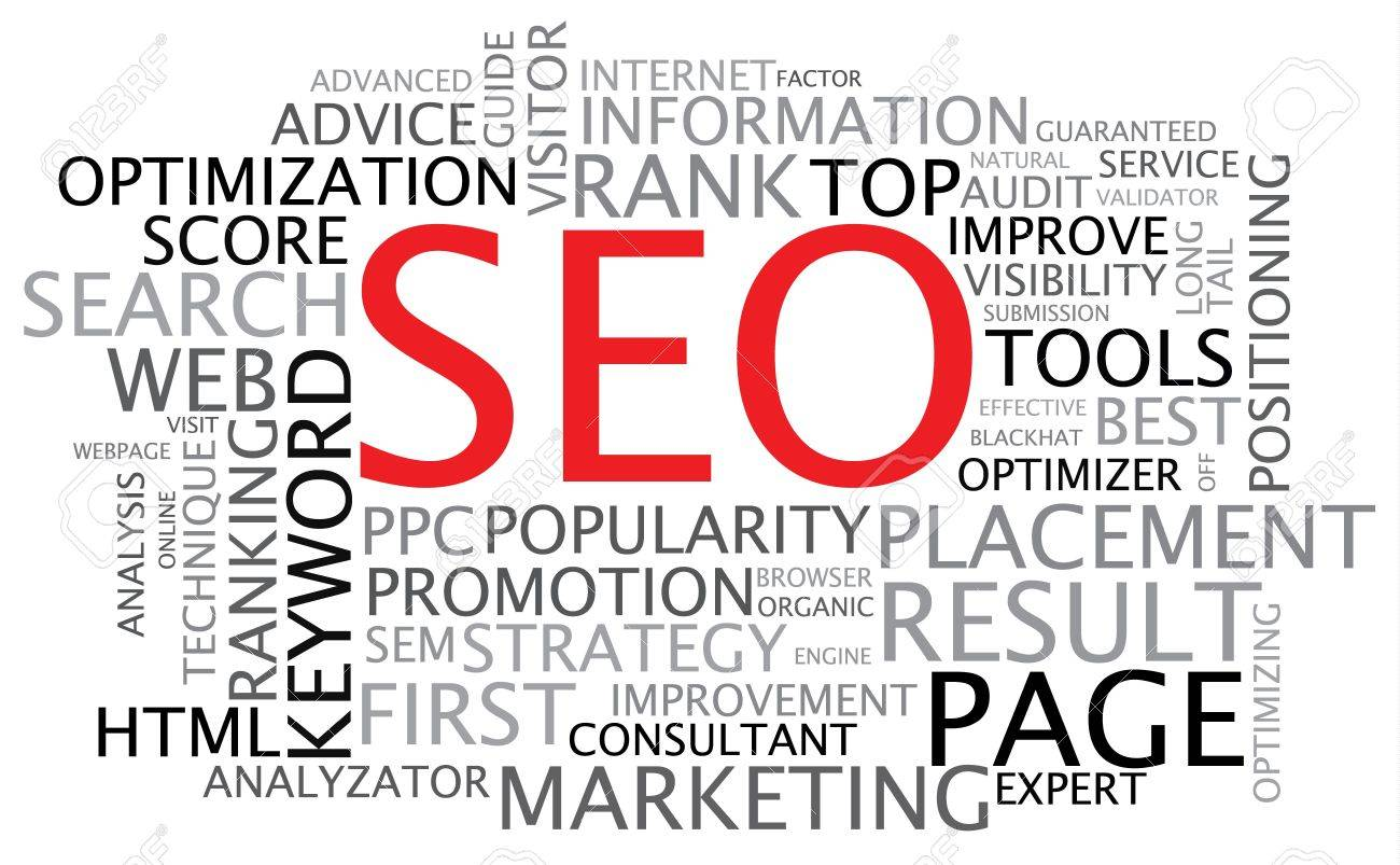 SEO - Search Engine Optimization poster - black and white Stock Photo - 6484809