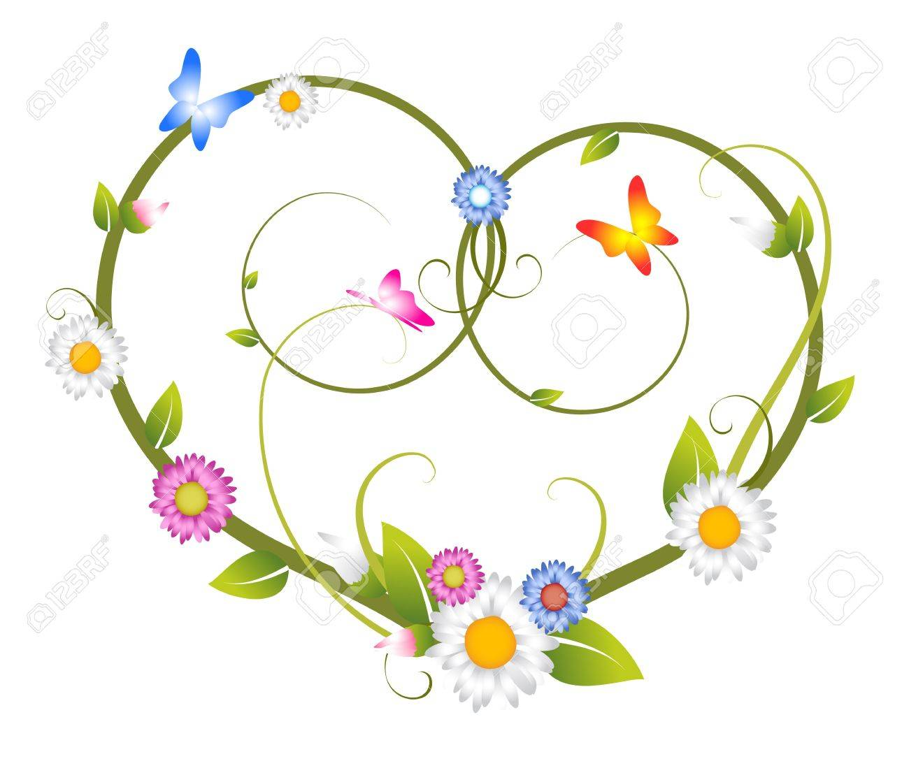 Spring Floral Heart Made From Flowers And Butterflies Stock Photo