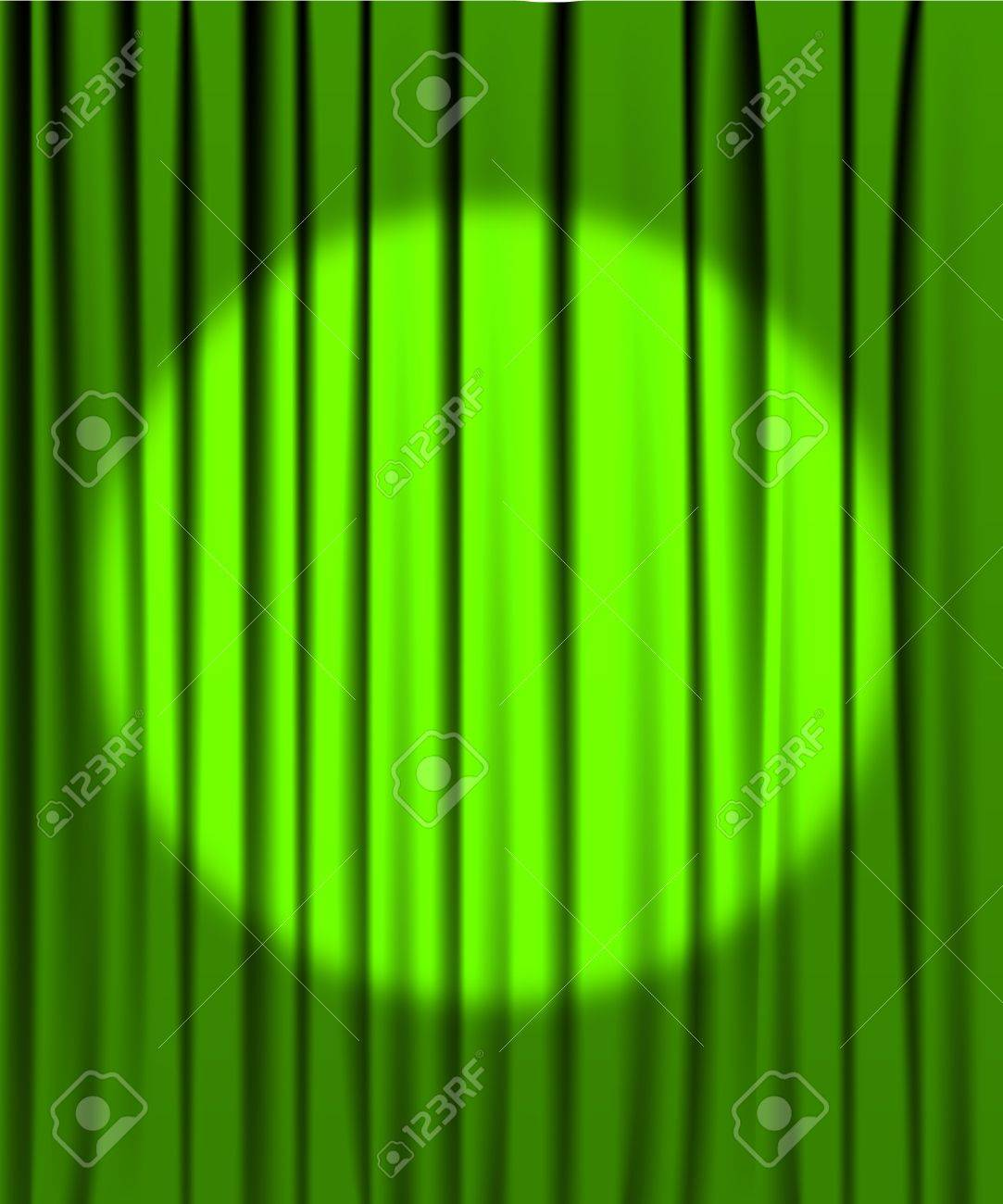 Green stage curtains - Green Curtain From The Theatre With A Spotlight Stock Vector 6696783
