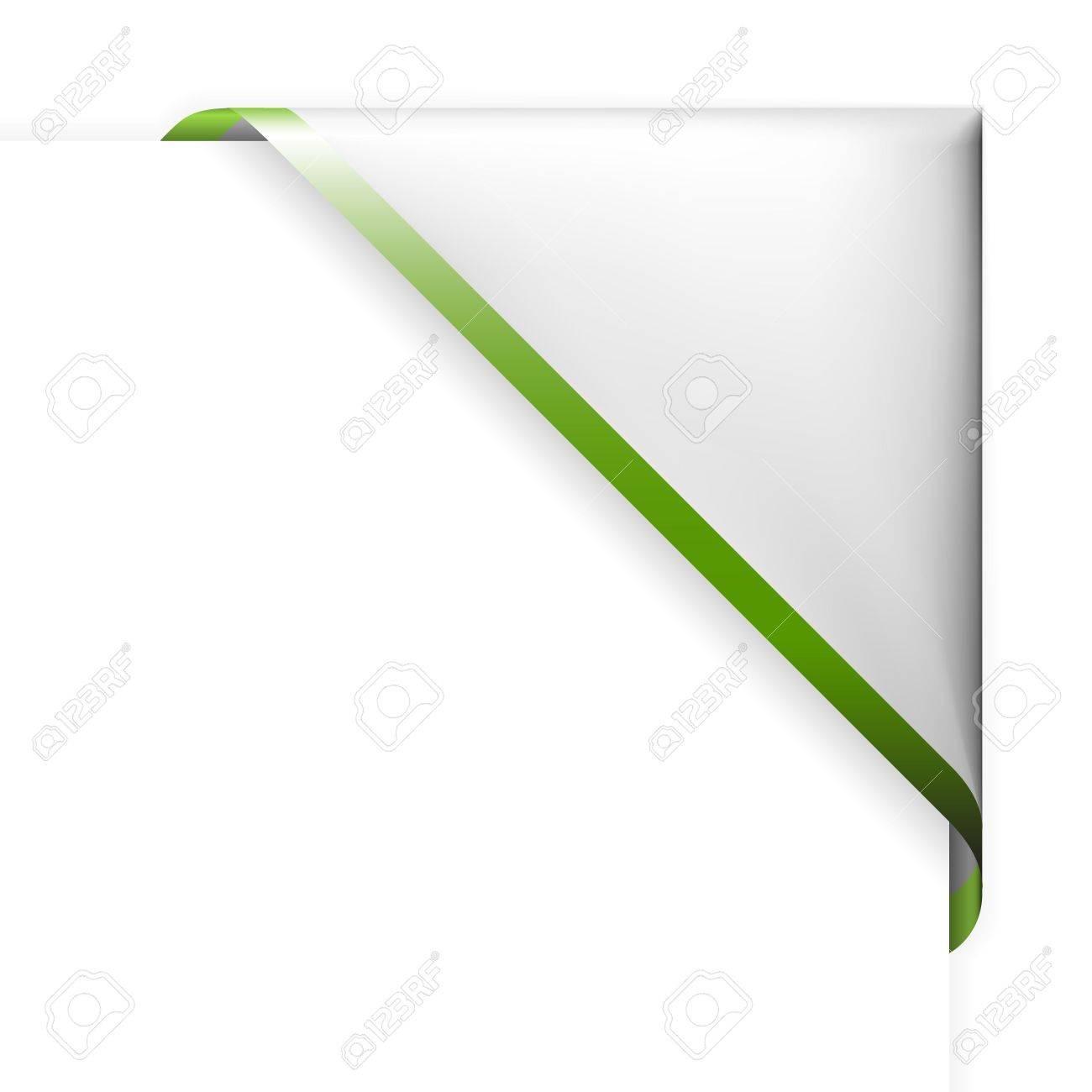 White corner ribbon with green thin border Stock Vector - 6763488