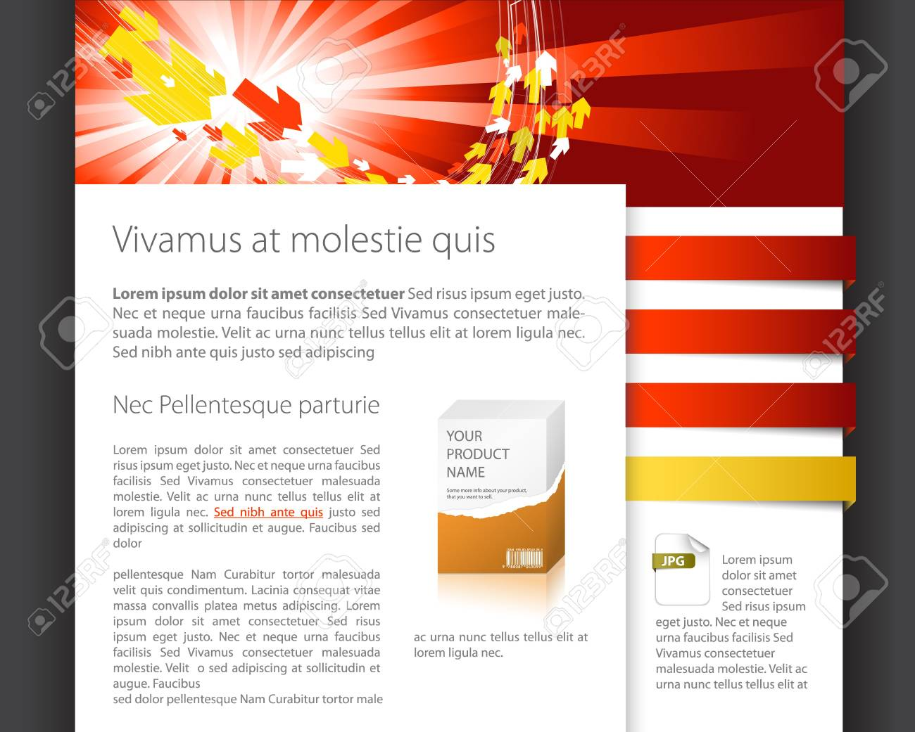 Dynamic website template - red and yellow version Stock Photo - 6881146