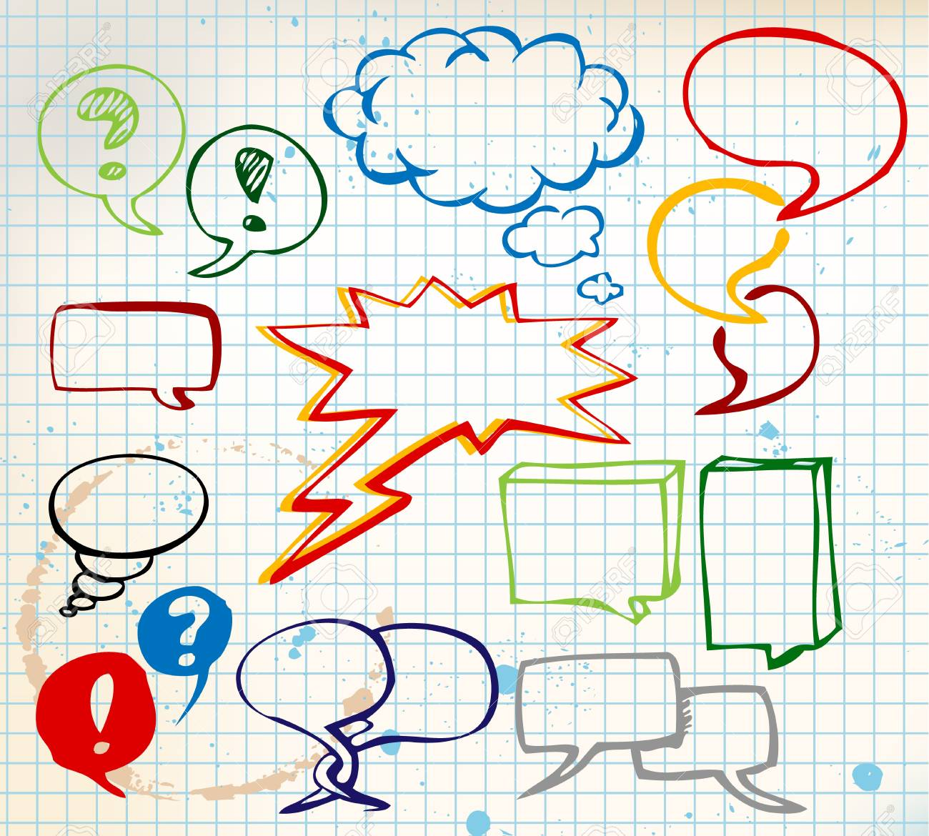 Set of colorful doodle speech bubbles on chequered paper Stock Photo - 6881183
