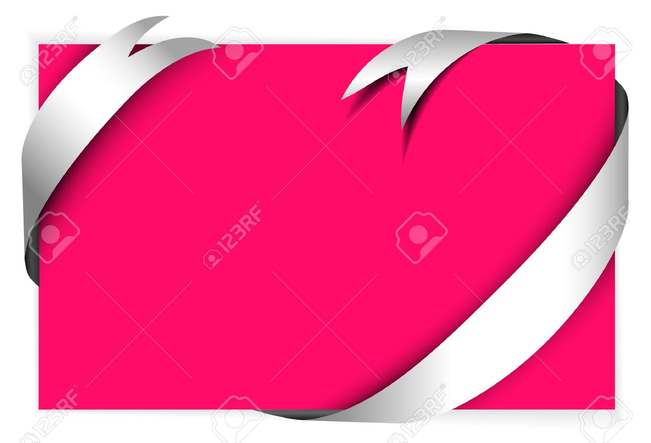 white ribbon around blank pink paper where you should write stock photo white ribbon around blank pink paper where you should write your text