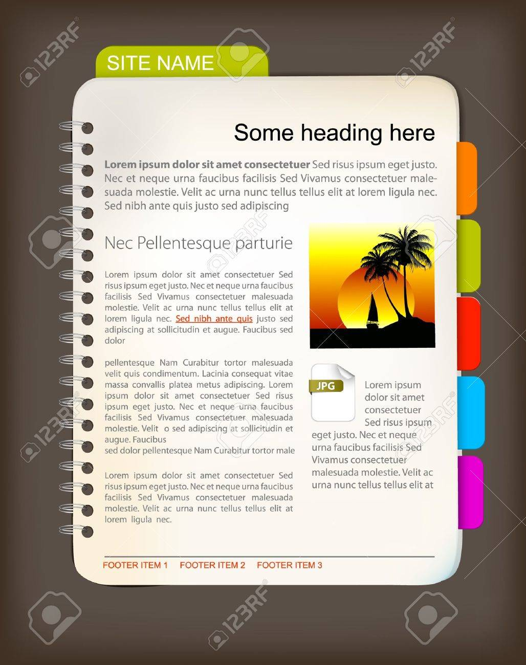 Web Site Template Open Notepad With Colorful Bookmarks Royalty – Notepad Template Word