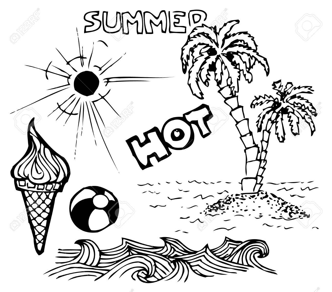 Summer doodle elements - sun, ocean, palm trees, ice cream, ball Stock Vector - 7089568