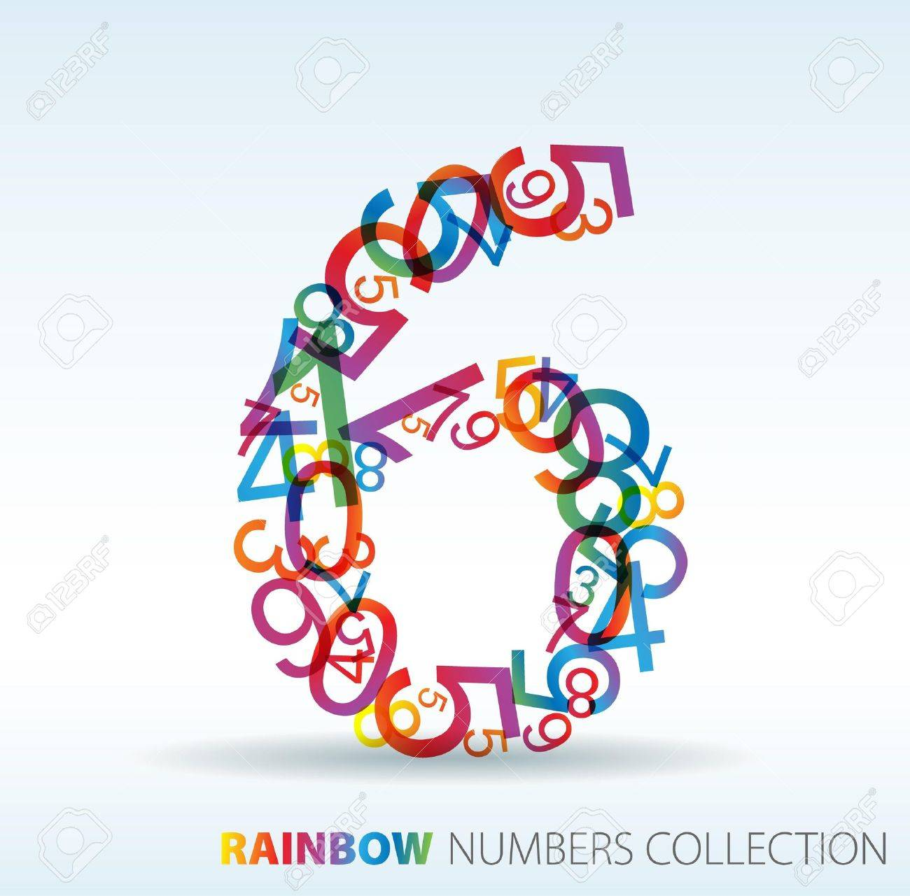 Number six made from colorful numbers -  check my portfolio for other numbers Stock Vector - 7517624