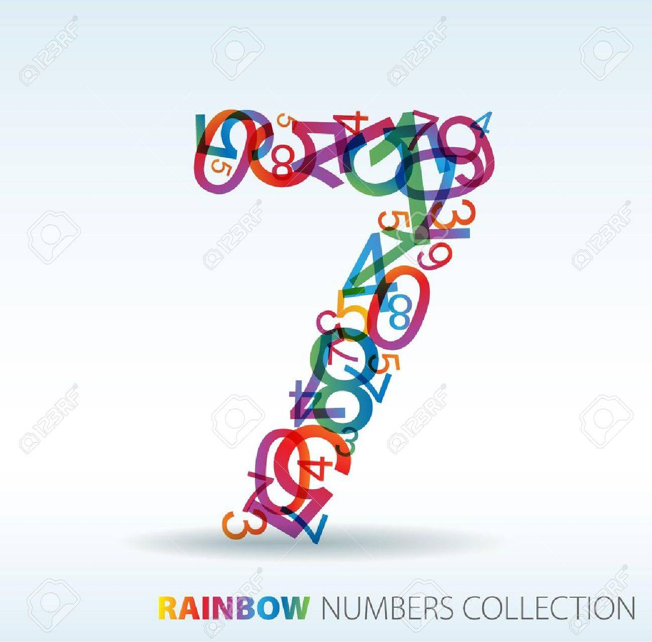 Number seven made from colorful numbers -  check my portfolio for other numbers Stock Vector - 7517601